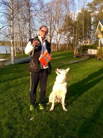 White Swiss Shepherd Dog Born to Win White Unique in Obedience competition in Finland